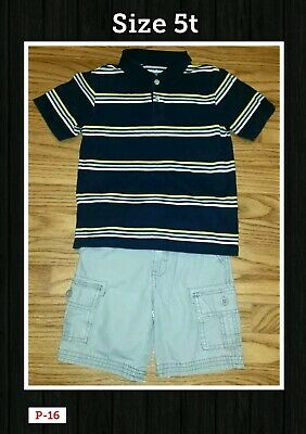 Carter's adjustable waist Cargo Shorts & polo Style striped shirt 5t