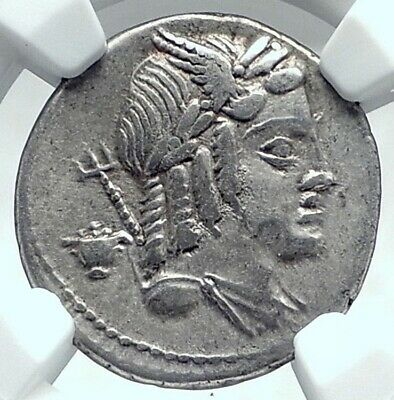 Roman Republic Apollo Vejovis 85BC Rome Authentic Ancient Silver Coin NGC i78043