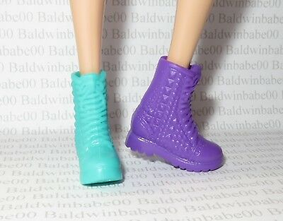 Hb ~ Shoes Barbie & The Rockers Mis-Matched Doll Purple Teal Faux Lace Boots