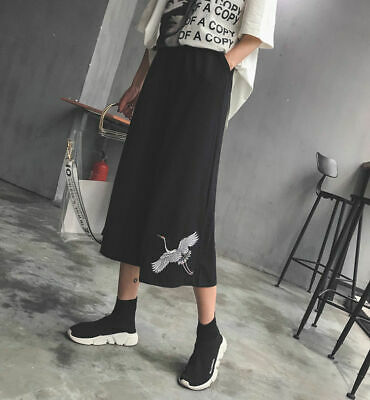 Girls Black Loose Pants Womens White Crane Embrodiery Cropped Trousers