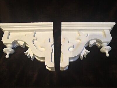 Pair of Antique 1880's Old Corbels Teardrop Finials White Chippy Paint Brackets*