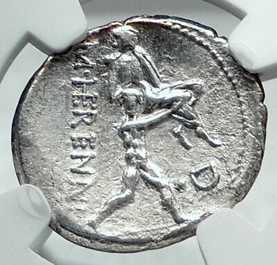 Roman Republic 108BC SON Saves FATHER from Sicily VOLCANO Silver Coin NGC i78053