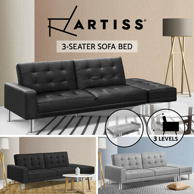 ARTISS 3 SEATER Futon Sofa Bed Set Ottoman Recliner Couch Leather Fabric  Chaise