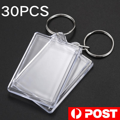 10Pcs Acrylic Blank Clear Photo Key Chain Picture Frame DIY Key Rings Tags Gifts