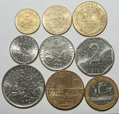 A619 Francia, lote de 9 monedas - France nine coins lot