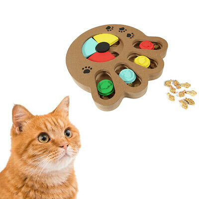 Pet Interactive Wooden Puzzle Toy IQ Training Game Food Dispensing Puppy Dog Cat
