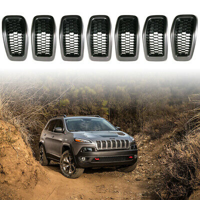 7PC Front Grille Grill Inserts Grey Ring Black Mesh for 2014-2018 Jeep Cherokee