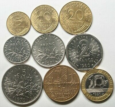 A623 Francia, lote de 9 monedas - France nine coins lot
