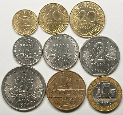 A624 Francia, lote de 9 monedas - France nine coins lot