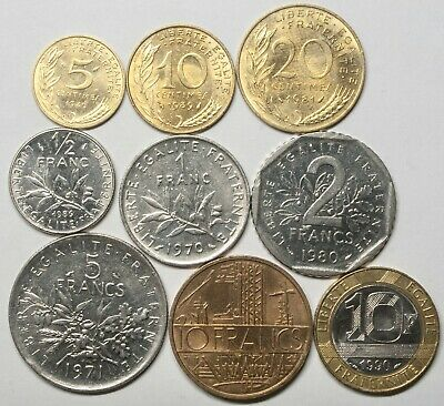 A625 Francia, lote de 9 monedas - France nine coins lot