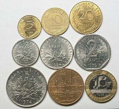A626 Francia, lote de 9 monedas - France nine coins lot