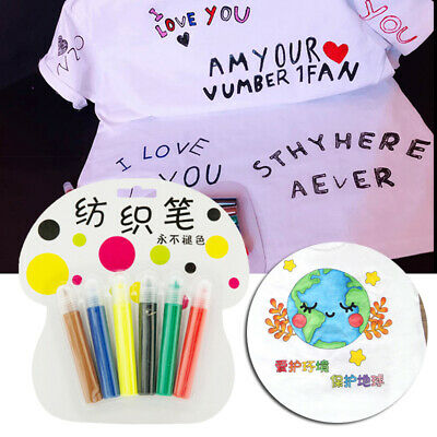 6pcs Fabric Painting Pen Permanent Fabric Markers For T-shirt Clothes Design
