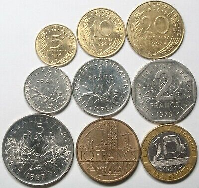 A627 Francia, lote de 9 monedas - France nine coins lot