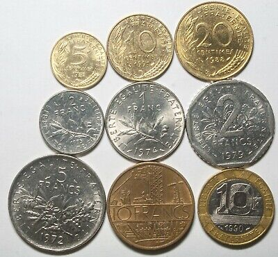 A628 Francia, lote de 9 monedas - France nine coins lot