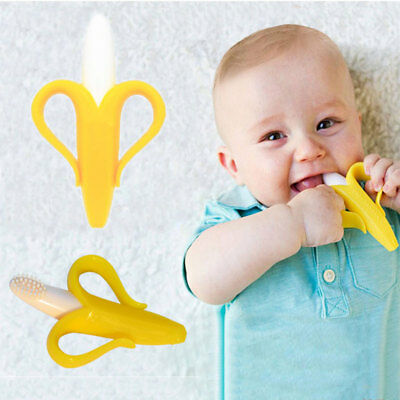 Safe Baby Toddler Silicone Teethers Cute Bendable Activity Banana Toothbrush Toy