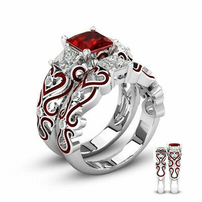 His & Hers Lover Steel Red CZ Couple Engagement Wedding Band Rings Set Stainless
