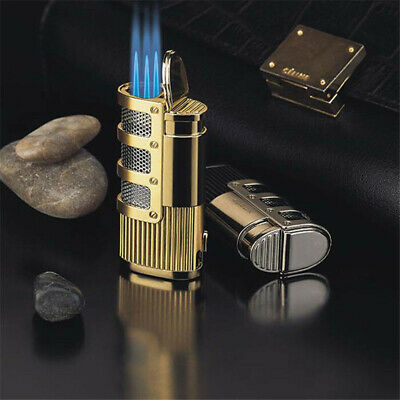 Windproof Three Jet Torch Flame Refillable Butane Gas Cigar Lighter 3 Colors