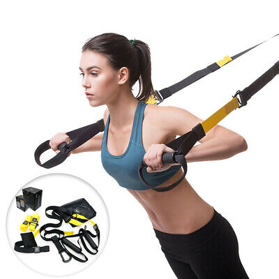 Suspension Trainer Kit Bodyweight Resistance Straps Home Gym Fitness Training