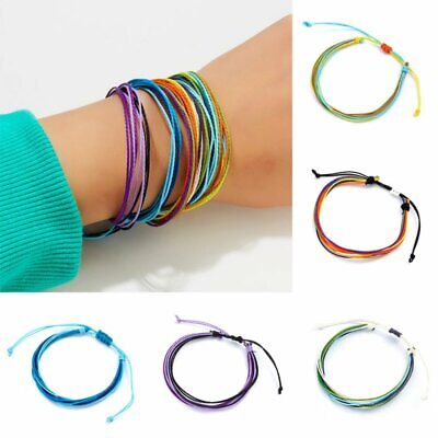 Boho Handmade Multicolor Waterproof String Cord Friendship Bracelet Adjustable