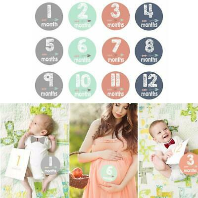 Newborn Baby Pregnant Women Monthly Photograph Stickers Month 1-12 Milestone Set