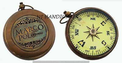 Brass Nautical Compass Vintage Antique Style Pocket Compass Marine Floating Dial