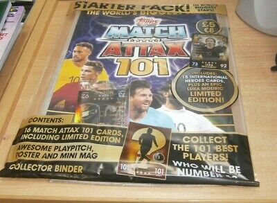 Topps Match Attax 101 Trading Cards Game Starter Pack Binder + Limited Ed Modric