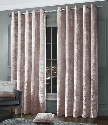 Crushed Velvet Ringtop Eyelet Fully Lined Ready Made Curtain Pair Blush Pink