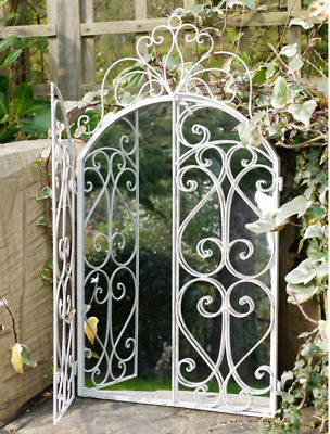 Garden Scroll Mirror White Metal Ornate Arched Mirror With Doors Patio Decor New