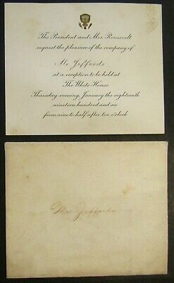 Theodore Roosevelt White House Invitation & Admittance Card W/ Envelopes 1906