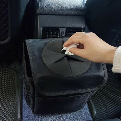 InnovIdea Car Bin Hanging Auto Trash Bag for Car Organiser Black Waterproof Leakproof Collapsible Car Rubbish Bin with Lid and Tie Down Straps
