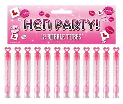 12x Pink Heart Hen Party Bubbles Tube Wand Bride Wedding Party Bag Filler