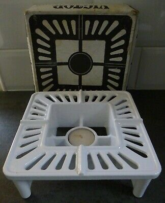 Vintage Victor Robert Welch White Cast Iron Modular Table Heater Food Warmer