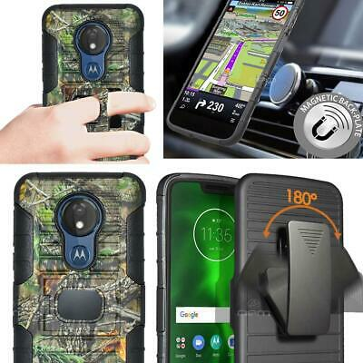 For Motorola Moto G7 Power / G7 Play Belt Clip Holster Magnetic Case Camouflage