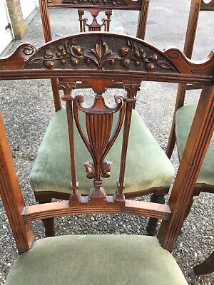 Set Of 4 Victorian Mahogany Wood Balloon Backed Antique Dining Chairs
