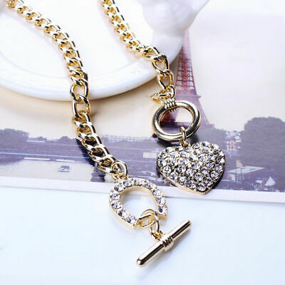 Woman Bling Rhinestone Gold Chain Toggle Clasp Heart Love Pendant Short Necklace