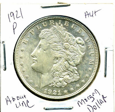 1921 P AU Morgan Dollar 100 Cent  About Uncirculated 90% Silver US $1 Coin #1238