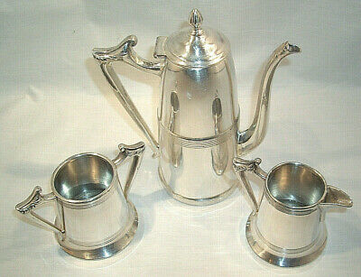 3 Pc Sheffield Silver Plate Tea/Coffee Set Cream & Sugar 1111 & Tea/Coffee 1112