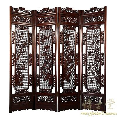 Antique Chinese Rosewood Open Carved Screen/Room Divider