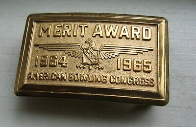 1964-1965 American Bowling Congress Belt Buckle ~ 263 Pins ~ Award Of Merit