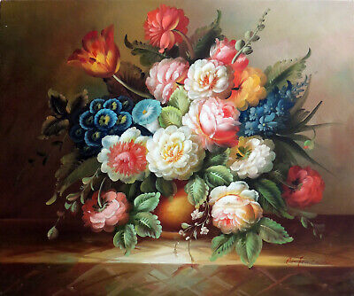 Flower Still Life Arrangement Tulips Roses & More STRETCHED 20X24 Oil Painting
