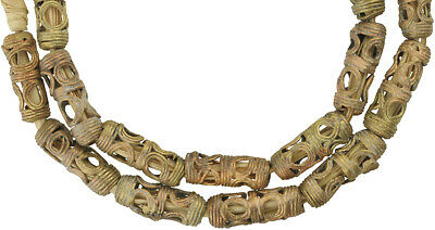 Strang Messingperlen Gelbg bronze Afrika Ghana Brass Trade Beads Ashanti