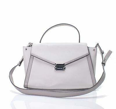 a62bf40906bb Michael Kors NEW Pearl Gray Silver Whitney Large Leather Satchel $348- #040