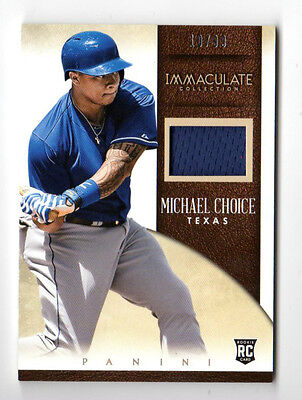 Michael Choice Mlb 2014 Immaculate Collection Immaculate Singles Memor (Rangers)