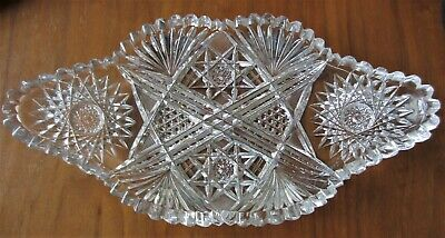 Beautiful Large Brilliant Cut Glass Ice Cream Tray. Circa 1900! NR