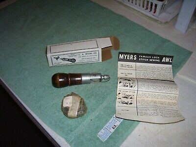 Vintage C. A. MYERS FAMOUS LOCK STITCH Leather Sewing AWL w BOX & INSTRUCTIONS
