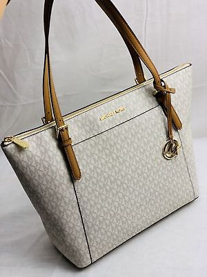 a6bbea3acdda New Michael Kors Ciara Mk Signature Pvc Jet Set Ew Top Zip Tote Bag In  Vanilla