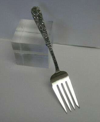 Sterling Silver 1924 Repousse Medium Cold Meat Serving Fork by Kirk Stieff