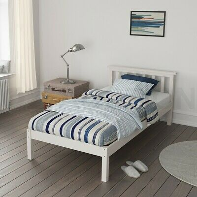 New Sturdy Pine Wooden Bed Frame Single Size Bedroom Furniture for Adult Kid WH