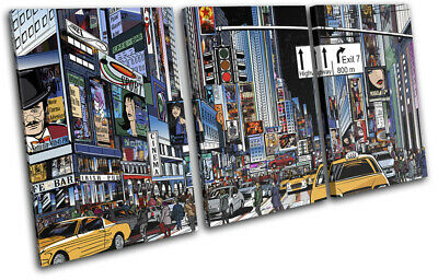 NYC New York Times Square Illustrated City TREBLE CANVAS WALL ART Picture Print