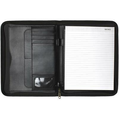 A4 Zipped Padfolio Portfolio Conference Folder Zip Folio Pad Organizer CV Resume
